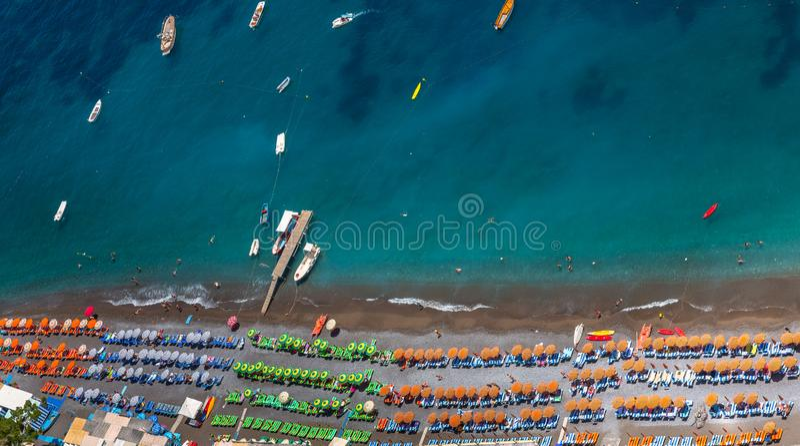Vue aérienne de plage de Positano photos libres de droits