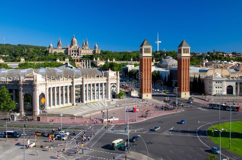 Vue aérienne de Plaza de Espanya Square, Barcelone, Catalogne, PS photos stock