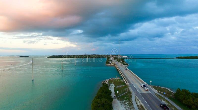 Vue aérienne de pont de clés, la Floride image stock