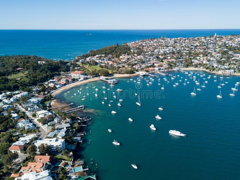 Vue aérienne de port de baie de Watsons, Sydney photographie stock libre de droits