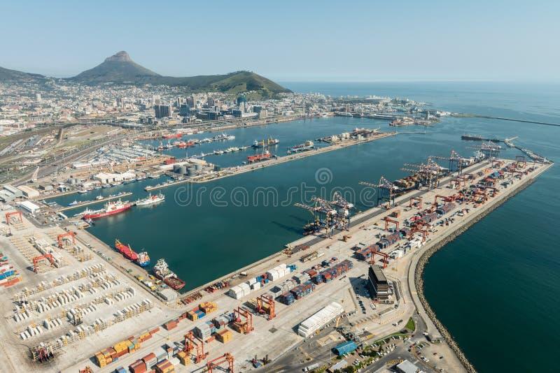 Vue aérienne de port de Cape Town photographie stock