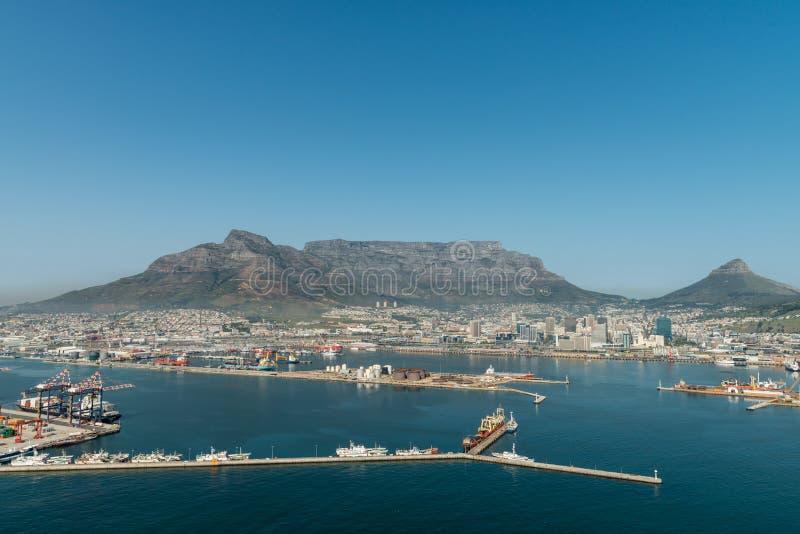 Vue aérienne de port de Cape Town images stock