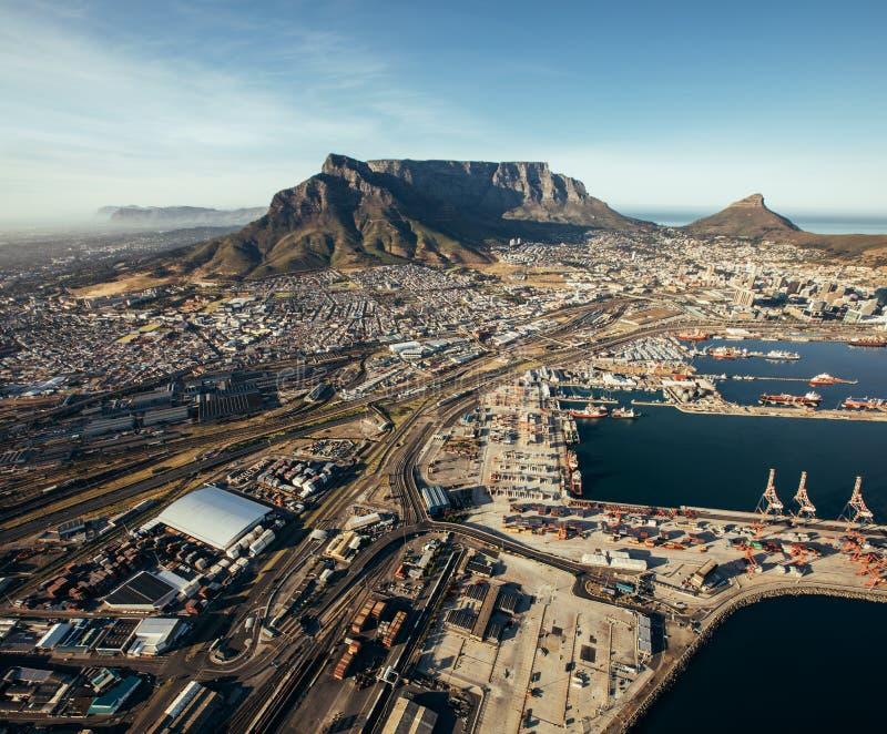 Vue aérienne de port de Capetown images libres de droits