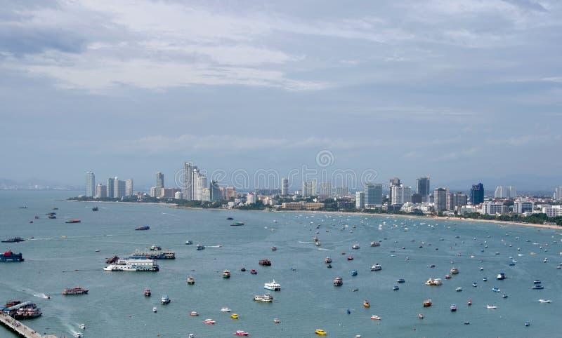 Vue aérienne de port de Pattaya en Thaïlande images stock