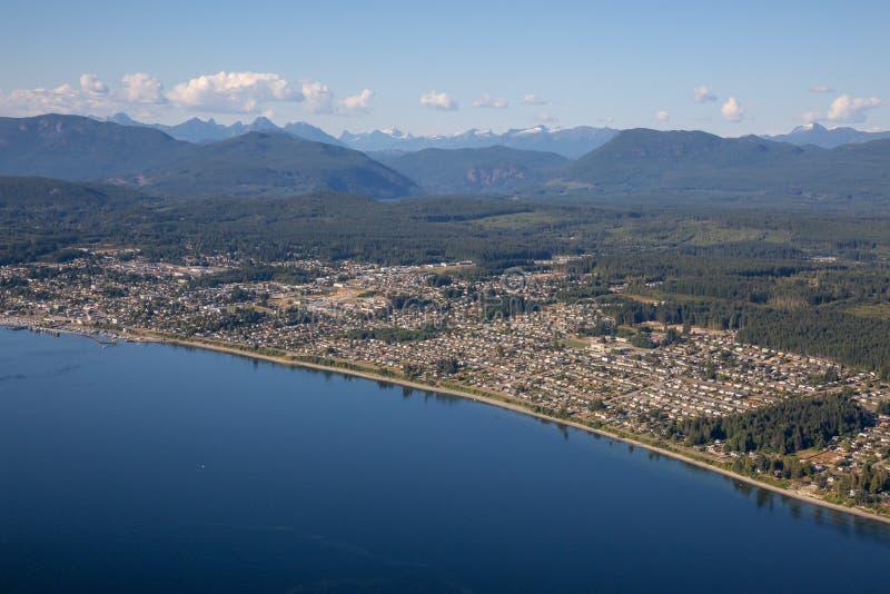 Vue aérienne de Powell River image stock