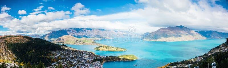 Vue aérienne de Queenstown en île du sud, Nouvelle-Zélande photographie stock libre de droits