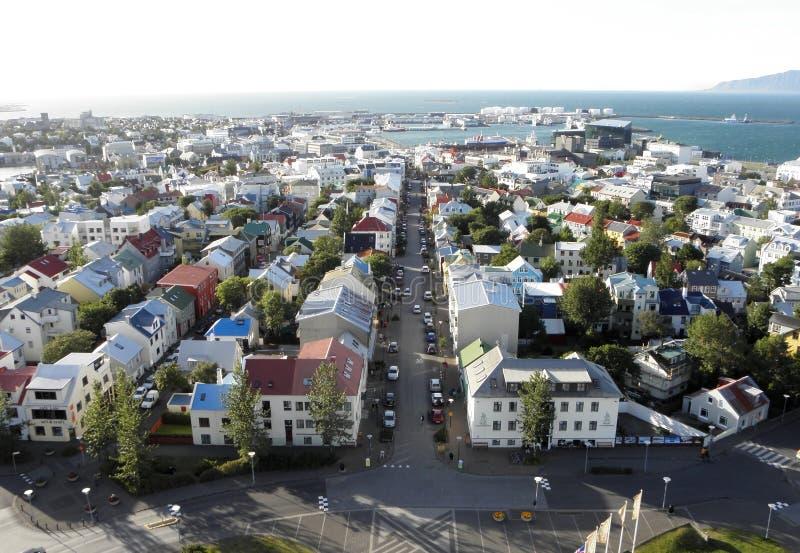 Vue aérienne de Reykjavik images libres de droits