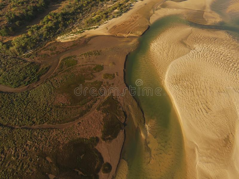 Vue aérienne de Ria Formosa River images libres de droits