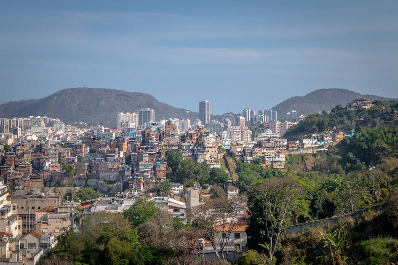 Vue aérienne de Rio de Janeiro du centre de Santa Teresa Hill - Rio de Janeiro, Brésil images stock