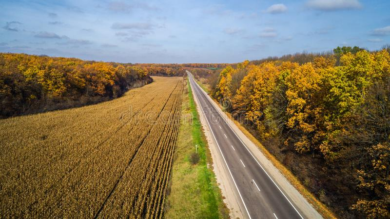 Vue aérienne de route dans la forêt d'automne au coucher du soleil Paysage stupéfiant avec la route rurale, arbres avec les feuil photos stock