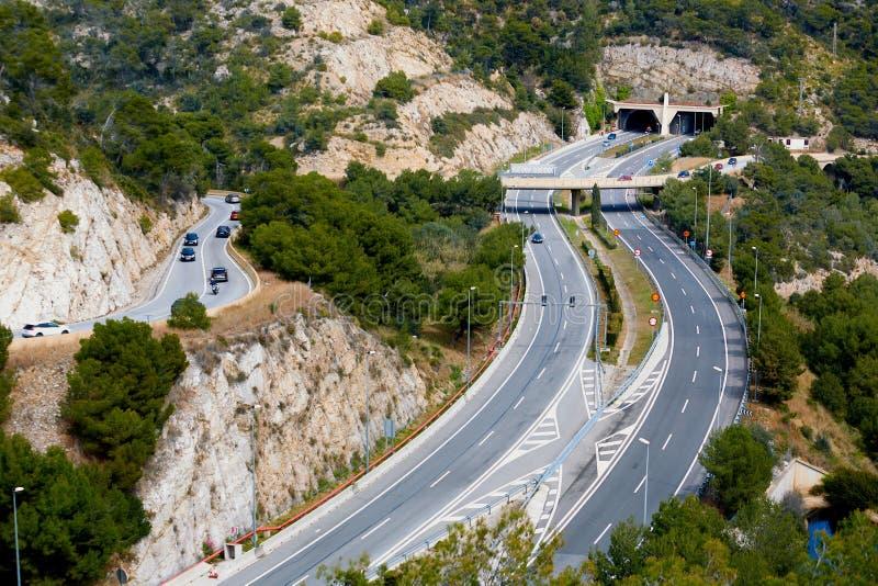Vue aérienne de route entre Sitges et Castelldefels l'espagne images stock