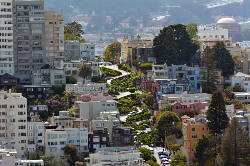 Vue aérienne de rue de Lombard à San Francisco, la Californie images stock