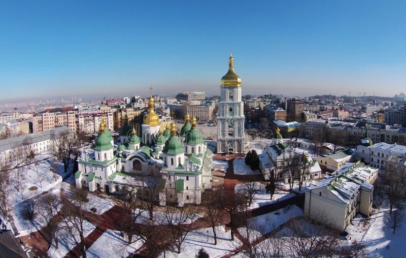 Vue aérienne de saint Sophia Cathedral à Kiev image libre de droits