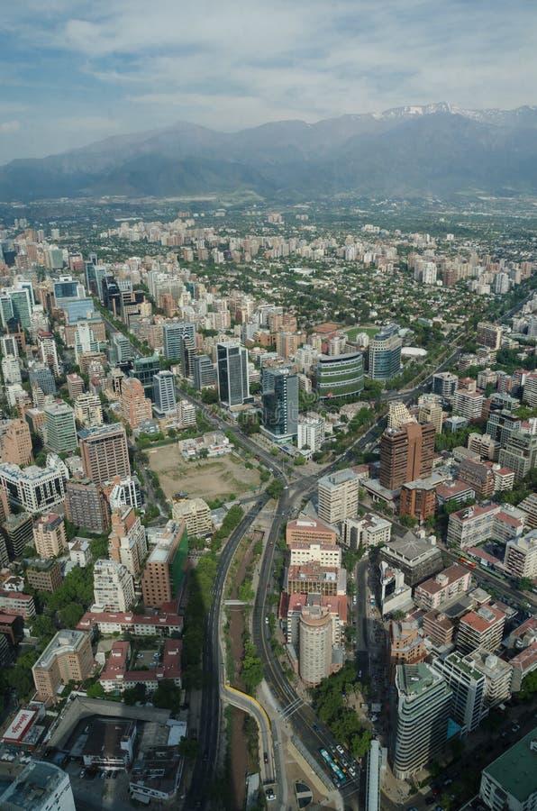 Vue aérienne de Santiago de Chile de ciel Costanera, Santiago, Chili photo libre de droits