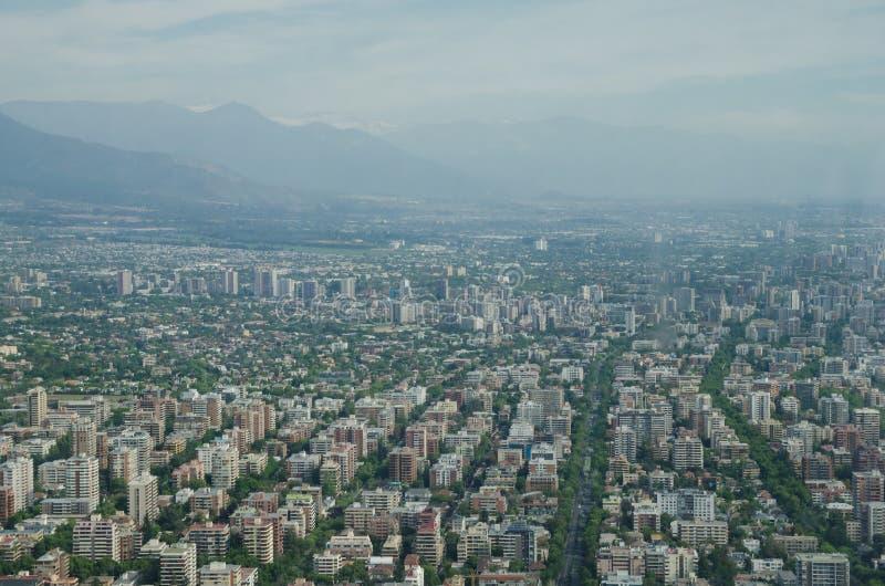 Vue aérienne de Santiago de Chile de ciel Costanera, Santiago, Chili images stock