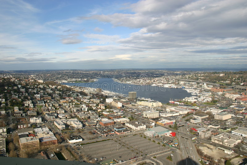 Vue aérienne de Seattle photo libre de droits