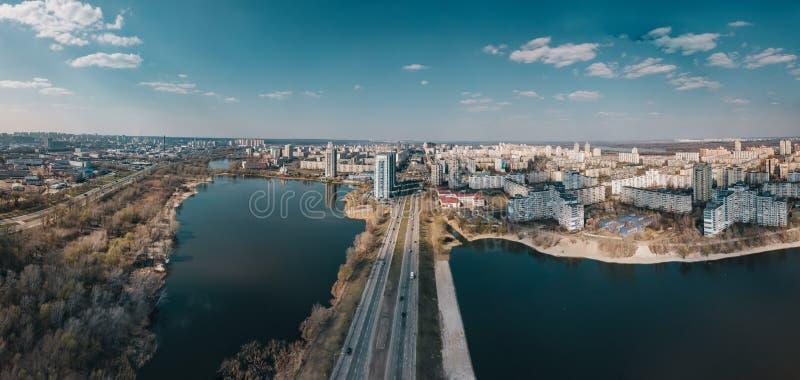 Vue aérienne de secteur d'Obolon, Kiev, Ukraine images libres de droits