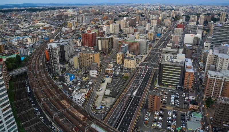 Vue aérienne de Sendaï, Japon photographie stock libre de droits