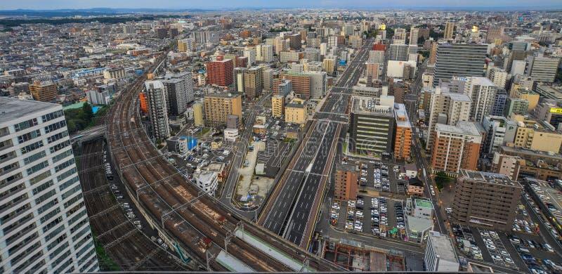 Vue aérienne de Sendaï, Japon image libre de droits