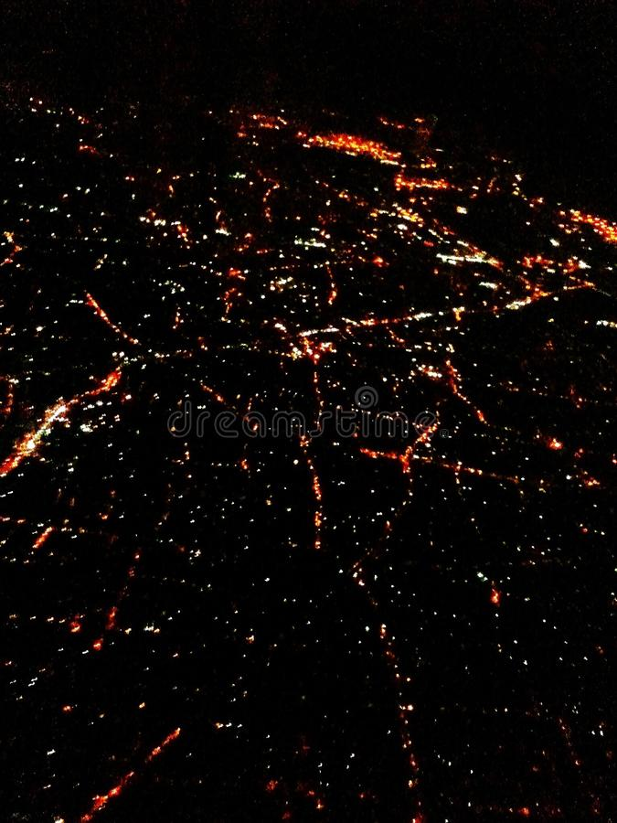 Vue aérienne de Singapour la nuit images stock