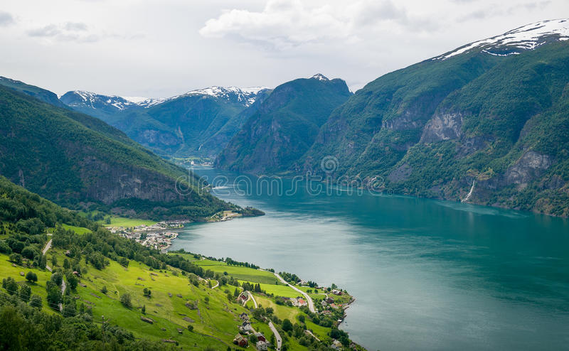 Vue aérienne de Sognefjord, Norvège photographie stock