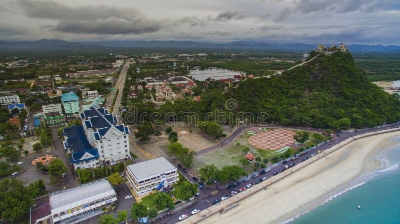 Vue aérienne de sout prachaupkhirikan de province de krachok de chong de khao photos stock