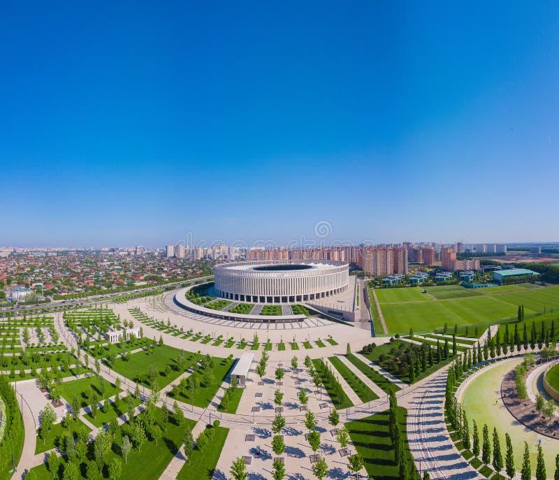 Vue a?rienne de stade de Krasnodar et du parc de Galitsky photo libre de droits