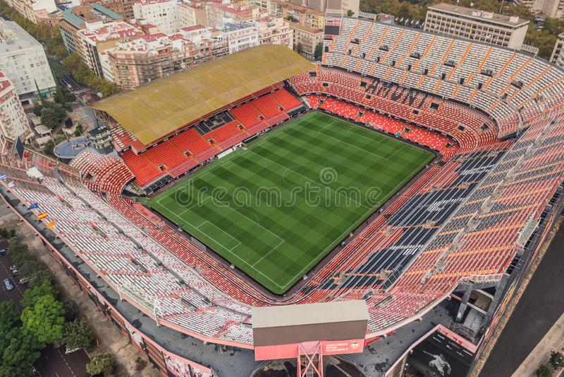 Vue aérienne de stade de Mestalla photos libres de droits