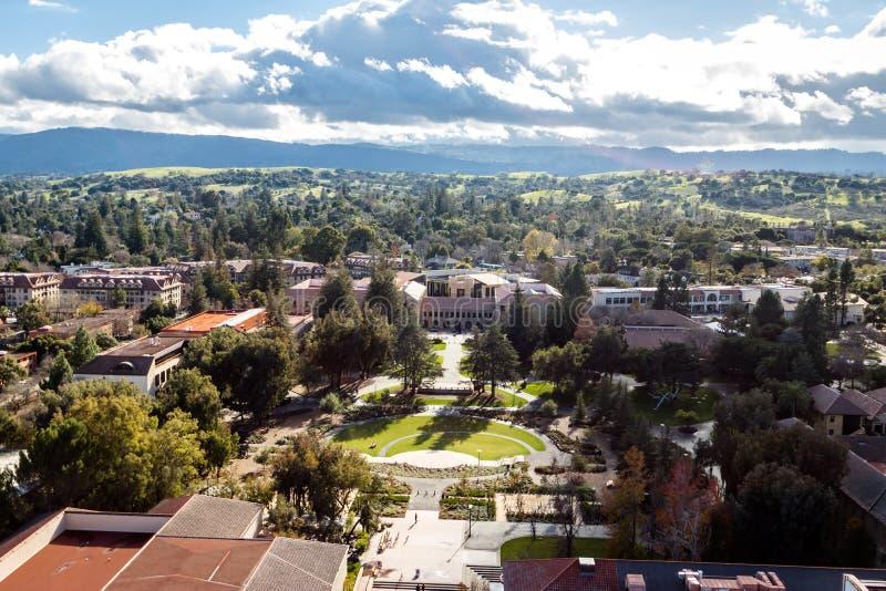 Vue aérienne de Stanford University Campus - Palo Alto, la Californie, Etats-Unis photographie stock