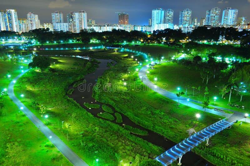 Vue aérienne de stationnement de Bishan par nuit image libre de droits