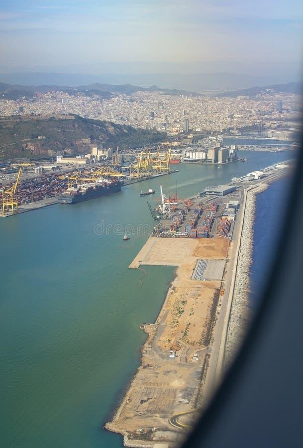 Vue aérienne de stockage Barcelone de dépôts de gas et de pétrole de pétrole photo libre de droits