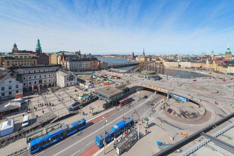 Vue aérienne de Stockholm et de Slussen de Katarinahissen photographie stock