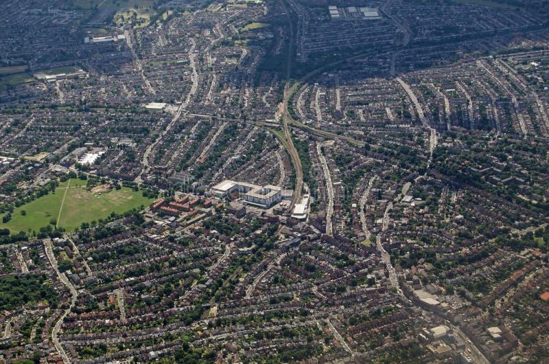 Vue aérienne de Streatham, sud de Londres photos libres de droits