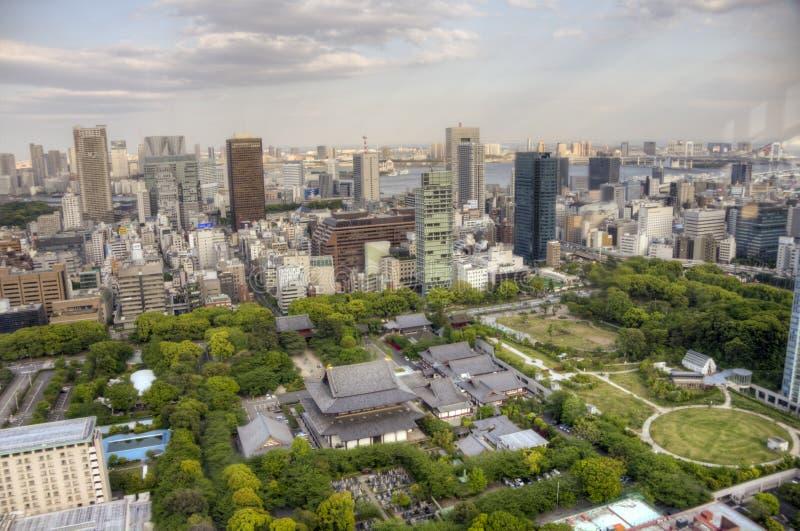 Vue aérienne de temple de Zojo-JI, Tokyo images libres de droits