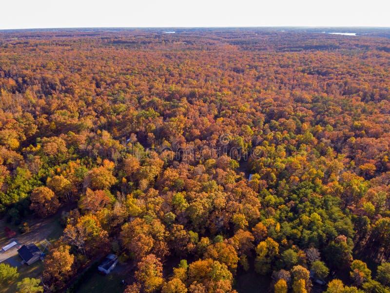 Vue aérienne de terre de ferme en automne images libres de droits