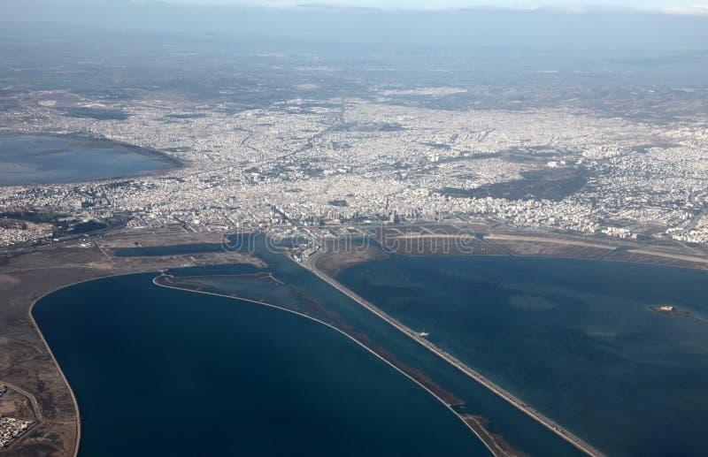 Vue aérienne de Tunis image libre de droits