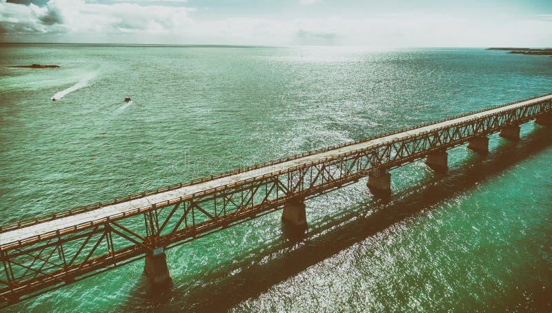 Vue aérienne de vieille Bahia Honda Bridge, la Floride images stock