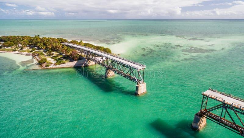Vue aérienne de vieille Bahia Honda Bridge, la Floride image libre de droits