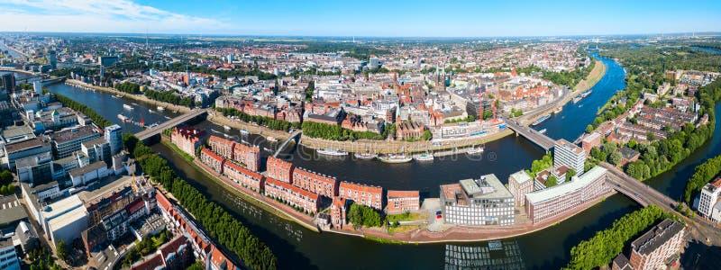 Vue aérienne de vieille ville de Brême image libre de droits