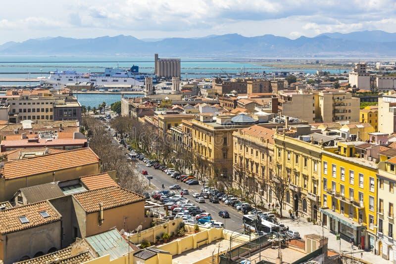 Vue aérienne de vieille ville de Cagliari, Sardaigne, Italie image stock