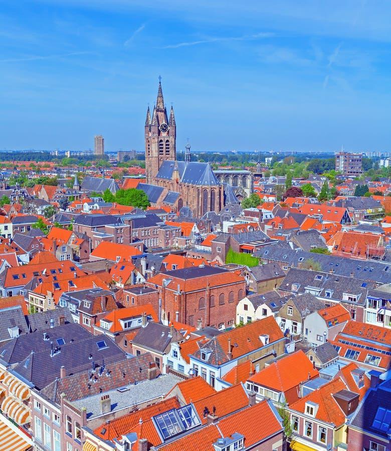 Vue aérienne de vieille ville, Delft, Hollande photographie stock