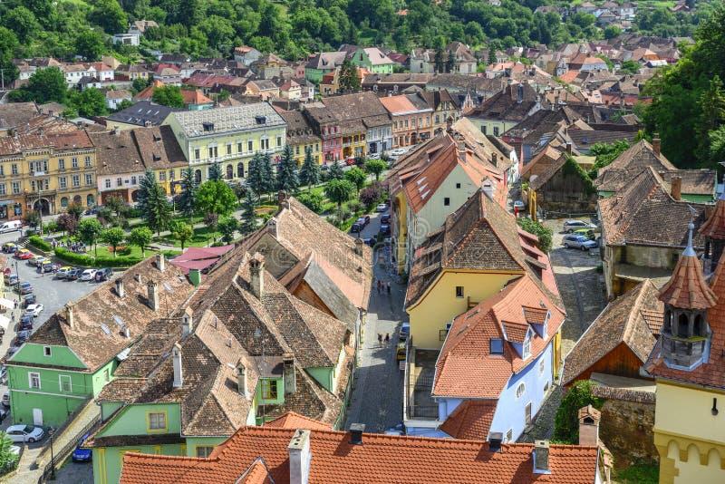 Vue aérienne de vieille ville Sighisoara, Roumanie photos stock
