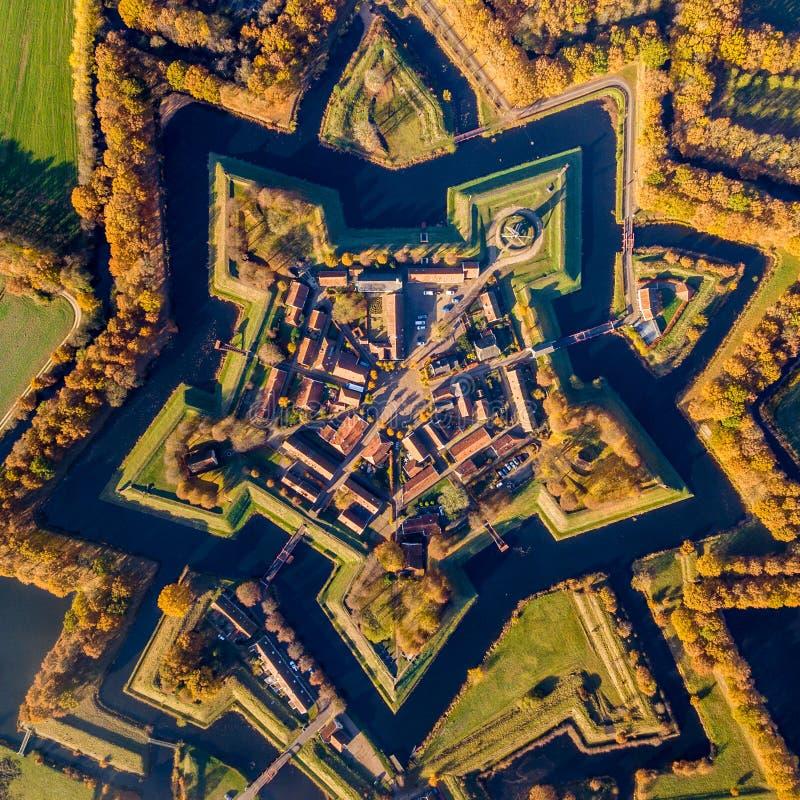 Vue aérienne de village de fortification de culture de Bourtange image libre de droits