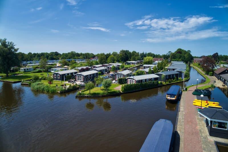 Vue aérienne de village de Giethoorn aux Pays-Bas photos libres de droits