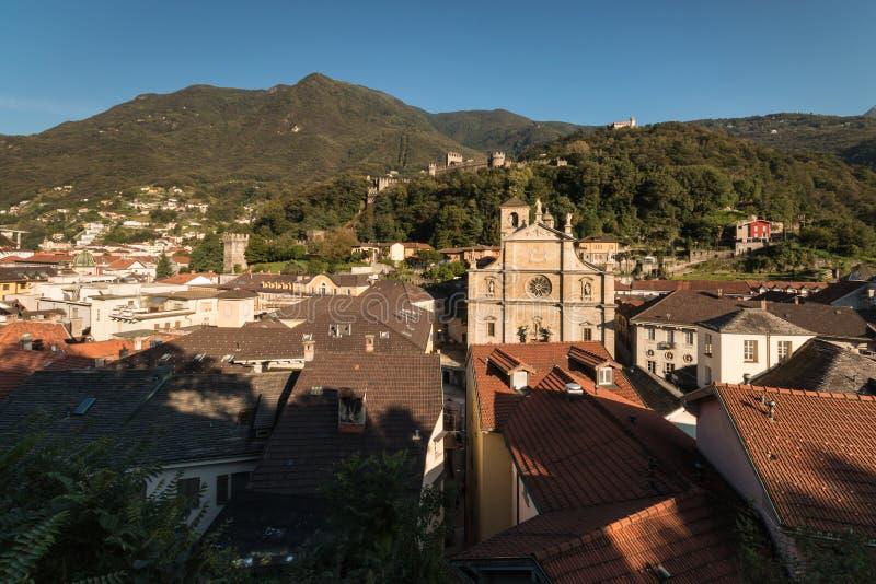 Vue aérienne de ville de Bellinzona image libre de droits