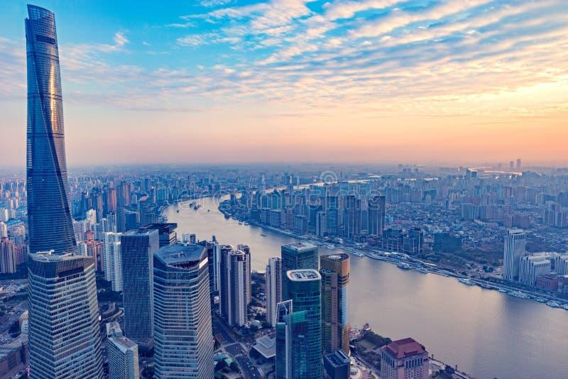 Vue aérienne de ville de Changhaï images stock