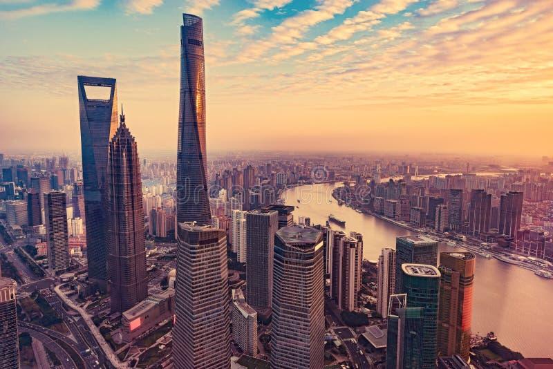 Vue aérienne de ville de Changhaï photos stock