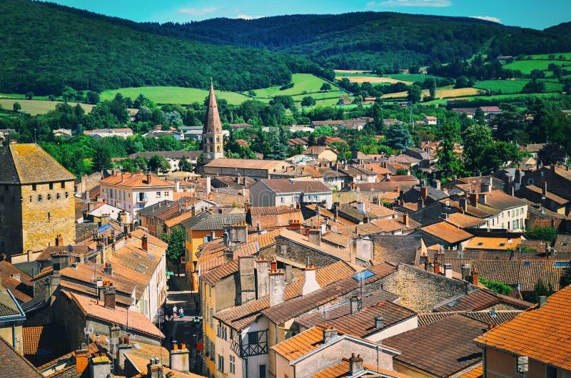 Vue aérienne de ville de Cluny dans les Frances photographie stock