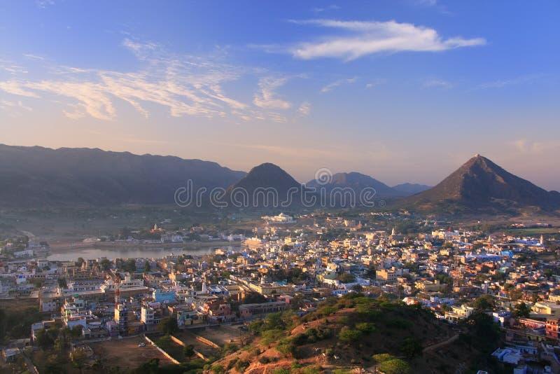 Vue aérienne de ville de Pushkar, Inde photos stock
