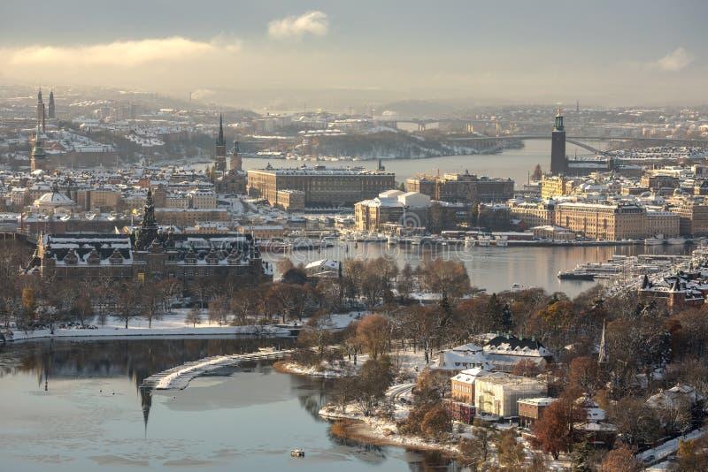 Vue aérienne de ville de Stockholm pendant l'hiver photo stock